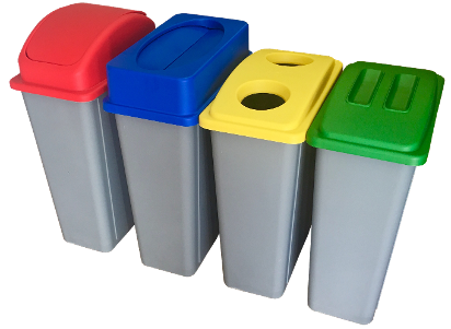 recycling station bins with coloured lids